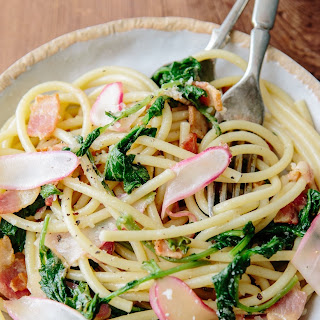 Rozanne Gold's Perciatelli with French Breakfast Radishes, Bacon & Greens