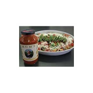 Asparagus and Chicken Manicotti With Mom's Garlic & Basil Spaghetti Sauce.
