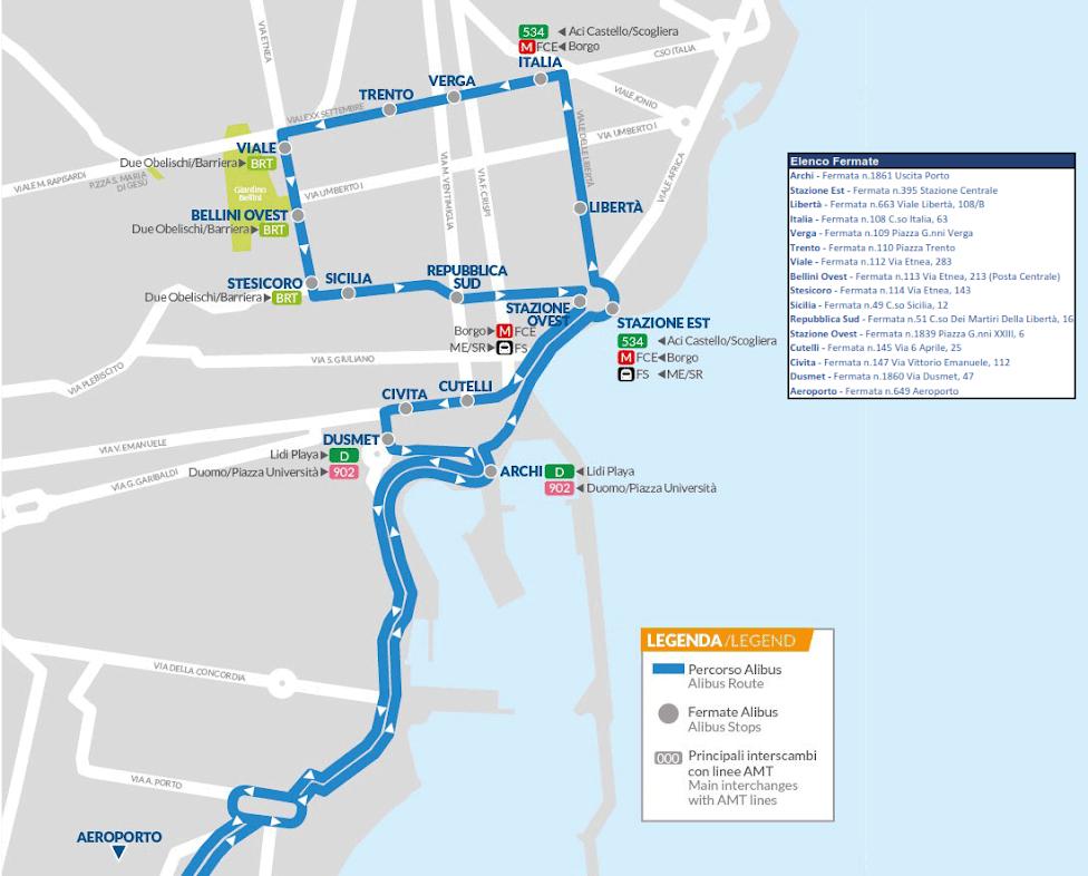 Alibus, autobus z lotniska w Katanii do centrum miasta, Jak dojechać z lotniska do centrum Katanii, bus from airport to Catania