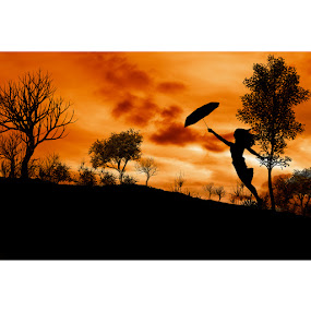 Winds Blow  by Berril Pratama - People Street & Candids ( orange, silhoute, sunset, woman, siloute, silhoutte, women, sun, black )