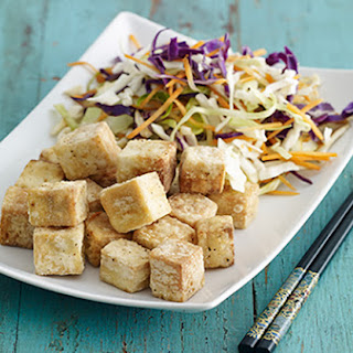 Salt and Pepper Tofu with Asian Slaw.