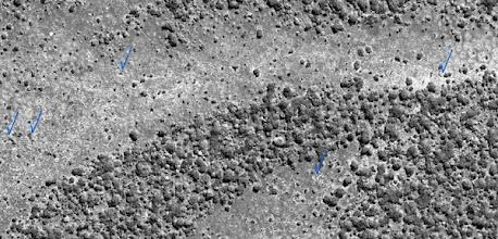 Photo: Identification of human trails in Luando from satellite imagery Identificação de trilhos humanos no Luando a partir de imagens de satélite