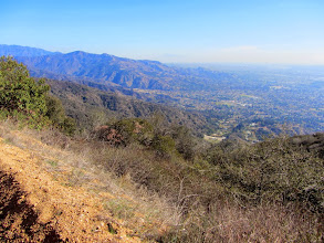 Photo: My first good view looking southeast toward the environs of Colby Trail. Seen right of center is the debris basin dam at the lower end of Harrow Canyon.
