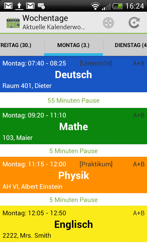 School Schedule Deluxe Retro- screenshot