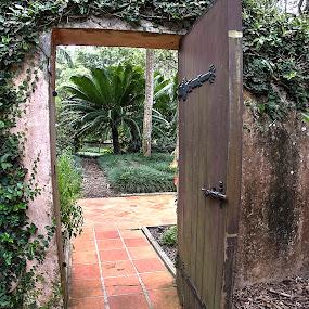 Through The Garden Door by Sandy Friedkin - Buildings & Architecture Architectural Detail ( wooden, view of gardens, path, door, spanish tiles,  )