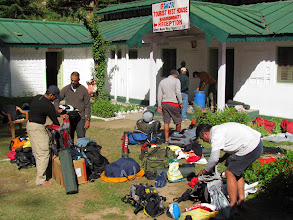 Photo: Day 3 - Sorting out the personal kits at Bhaironghati