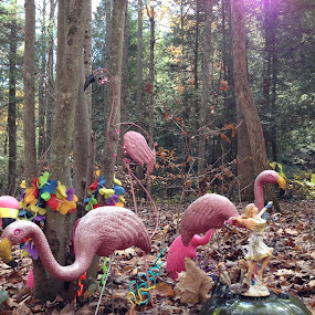 Woodland Flaming by Eric Eldritch - Artistic Objects Other Objects ( pink flamingos, camping, gay, forest, woods, lgbt )