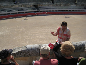 Photo: Our guide explains the difference between Spanish and French bull fighting.