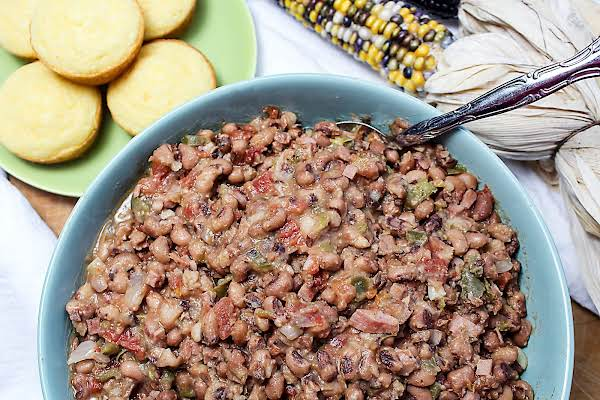 Spicy Black-eyed Peas With Cornbread On The Side.
