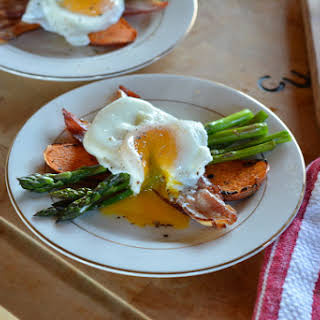 Poached Eggs Over Asparagus.
