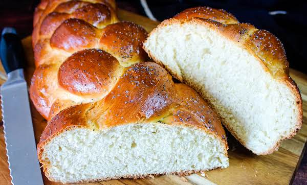 Challah Bread Loaf Cut In Half.