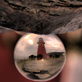 Red Lighthouse by Danny Lapierre - Artistic Objects Glass ( red, glass, lighthouse, sphere, wood, clouds,  )