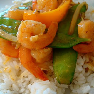 Shrimp Stir Fry with Snow Peas and Coconut Curry Sauce.