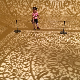Playing with Shadows and Light by Kristine Nicholas - Novices Only Portraits & People ( babies, patterns, indoor, play, indoors, candid, museum, shadows, kid, child, playing, pattern, shadow, baby, childhood, artificial, toddler, light, artificial light,  )