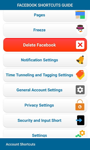 Account Shortcuts - Delete Guide for Facebook 1.9.7 Up. screenshots 2