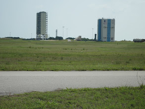 Photo: Launch complexes just across the road from the lake. Launch complex 46 for the Space Shuttle.