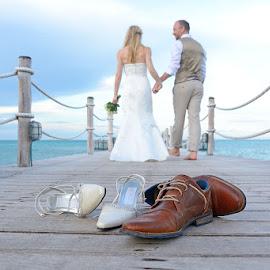 Shoes by Andrew Morgan - Wedding Bride & Groom ( love, shoes, zanzibar, wedding, jetty )