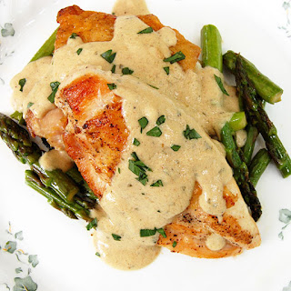 Pan-Fried Chicken with Mustard Cream Sauce and Asparagus.