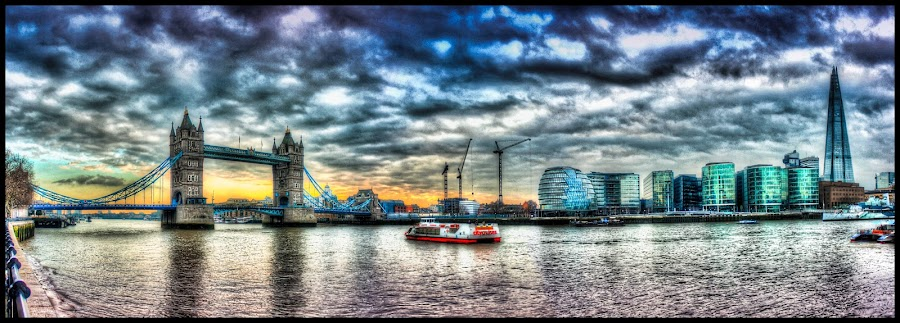 tower bridge in hdr  by Jinesh Solanki - Buildings & Architecture Bridges & Suspended Structures ( tower, panoroma, london, hdr, bridge )