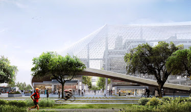 Photo: This rendering shows the northwest corner of the proposed Charleston South building.  Large, translucent enclosures blur the boundaries between inside and out. These canopies regulate climate, pollution, and sound, while freeing spaces from traditional architectural limitations like walls, windows and roofs.  Cafes and local shops on the lower levels open into interior open walkways under the canopy.  More info about our proposed new campus in Mountain View: http://g.co/go/y6pnk