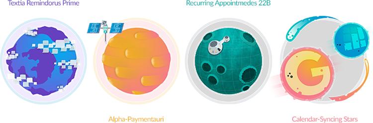 Setmore Premium planet illustrations.