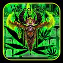 Green Weed Neon Skull Keyboard icon