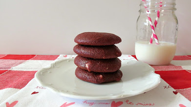Photo: Red Velvet Cookies - A healthy, light, fluffy deep red cake like cookie filled with white chocolate chips and contains no oil or butter.  http://www.peanutbutterandpeppers.com/2013/02/04/red-velvet-cookies/#  #redvelvet   #redvelvetcookies   #valentinesdayrecipe   #cookie   #yogurtrecipe