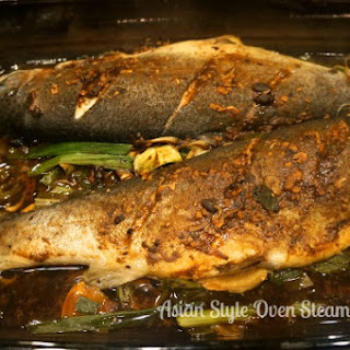 Asian Style Oven Steamed Trout.