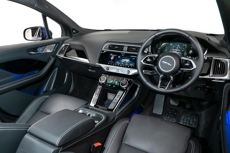 The lap of luxury, with smart digital interfaces. The I-Pace introduces the Touch Pro Duo infotainment system with a combination of touchscreens, capacitive sensors and tactile physical controls. Picture: SUPPLIED