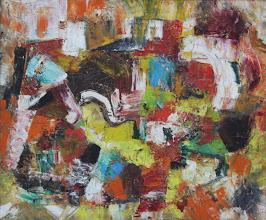 """Photo: """"Vue du ciel"""". Huile sur toile. 64x52cm, format horizontal."""