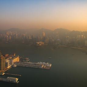 HK cityscape by Natapong Paopijit - City,  Street & Park  Skylines ( port, building, harbour, hk, skycrapers, sky100, hour, cityscape, landscape, city, urban, sunset, pier, light, golden )