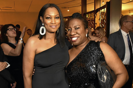 Actress Garcelle Beauvais, left, and civil rights activist Tarana Burke, founder of the #Me Too movement, at a Golden Globes after party.