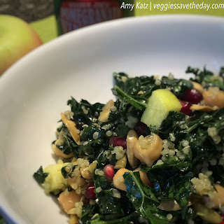 Kale and Quinoa Salad with Chickpeas, Pomegranate, and Apples