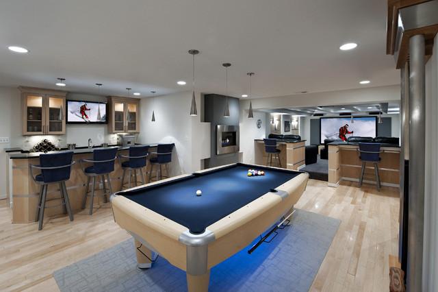 ultra modern basement bar with pool table game room and cinema area