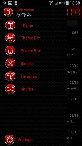 Red GO SMS Theme