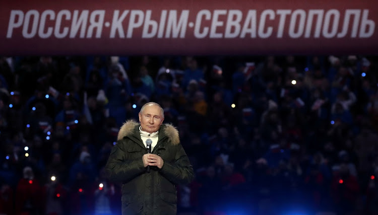 Russian President Vladimir Putin at a concert marking the seventh anniversary of Russia's annexation of Crimea at Luzhniki Stadium in Moscow, Russia, March 18 2021. Picture: REUTERS/SPUTNIK/VYACHESLAV PROKOFYEV