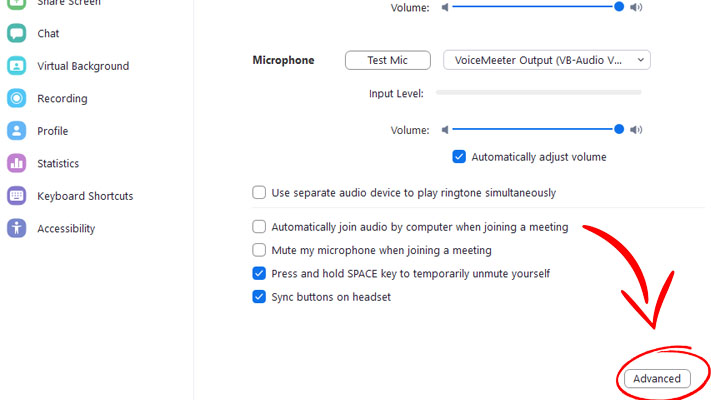Zoom audio settings step 3