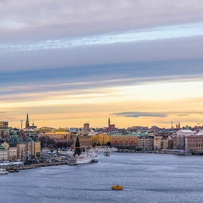 Stockholm skyline by Håkan Bley - City,  Street & Park  Skylines ( water, clouds, sky, stockholm, color, sea, ships, view, cityscape )
