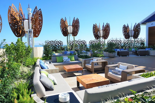The Rooftop Garden is a cozy outdoor place to relax or challenge fellow cruisers to a friendly lawn game.