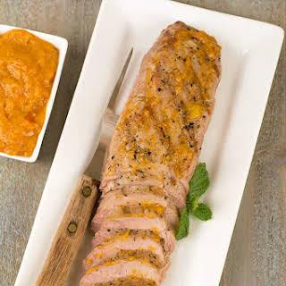 Grilled Pork Tenderloin with Bourbon-Peach BBQ Sauce.