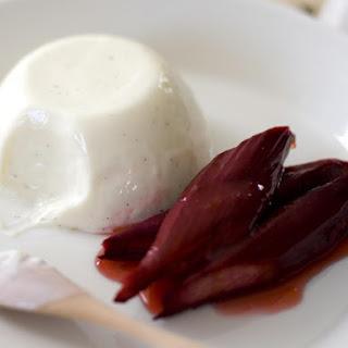 Yogurt Panna Cotta with Baked Rhubarb.