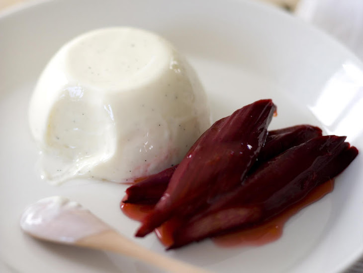 Yogurt Panna Cotta with Baked Rhubarb Recipe