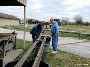 Photo: Pete Greene getting ready to weld engine barn rail together.  Bill Howe helping out.   2014-0104 RPW