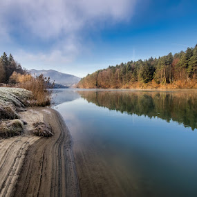 In the river bed by Peter Zajfrid - Landscapes Waterscapes ( reflection, slovenija, drava, slovenia, morning, ruse, ruše, river )