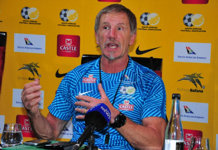 Bafana Bafana head coach Stuart Baxter speaking during the South African national men's soccer team press conference at Fusion Boutique on November 06, 2017 in Polokwane, South Africa.