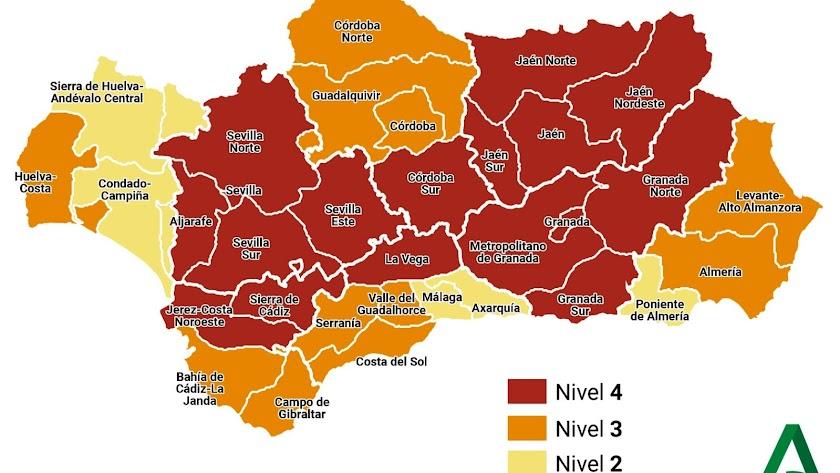 Niveles de medidas preventivas Covid-19 en Andalucía.
