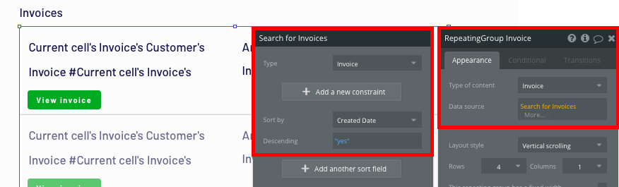 Displaying a list of invoices in a no-code Quickbooks app