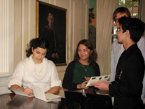 Photo: Anna Shakina and Yaroslava Serdobolskaya at the Lowell House, Harvard University - signing autographs for young admirers