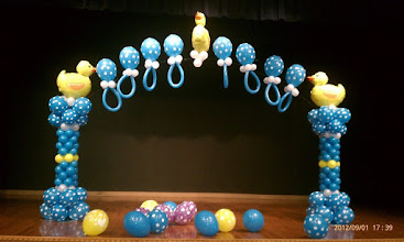 Photo: Duck theme columns and arch for baby shower