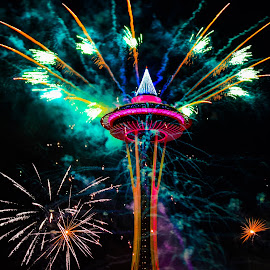 Space Needle '16 by Kevin Wickersham - Public Holidays New Year's Eve ( new, eve, seattle, new year, nye, fireworks, year, space, fire, works )